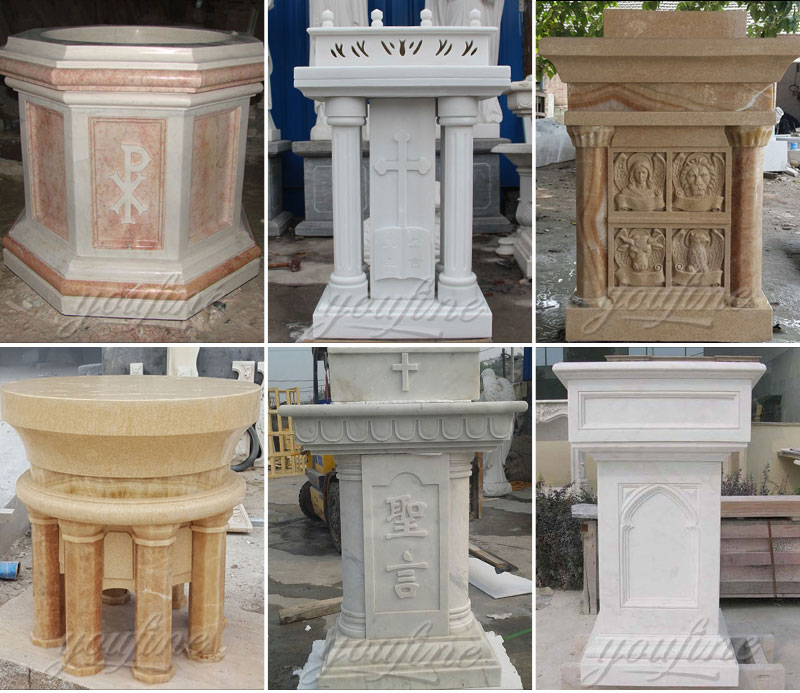Religious statues of marble pulpit and font