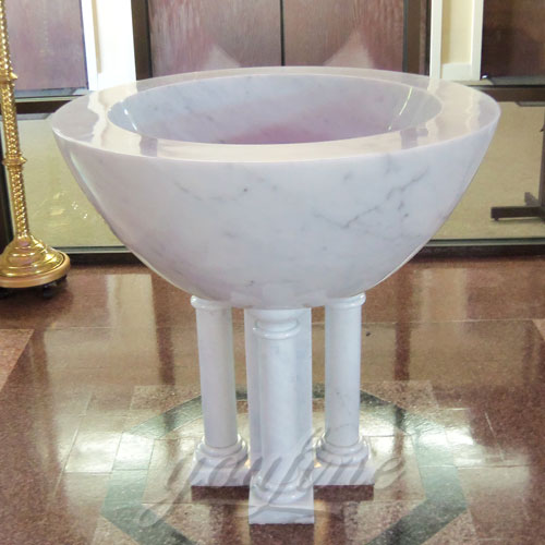 Religious Catholic Statues of White Marble Holy water Font in a Church on discount