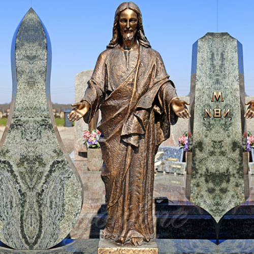 Garden Antique Bronze Religious Statues of Jesus Open Arms 67 inches on stock
