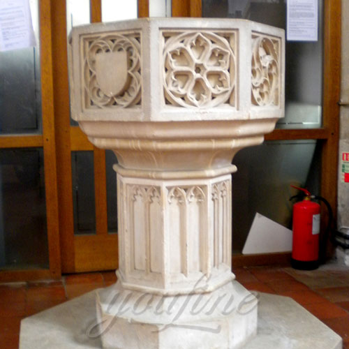 Religious Catholic Statues of Marble water Fonts for Interior Decor of Church
