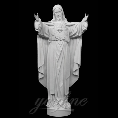 Outdoor Famous Sacred Heart Jesus Stone Statue with Open Hand for Garden Decor