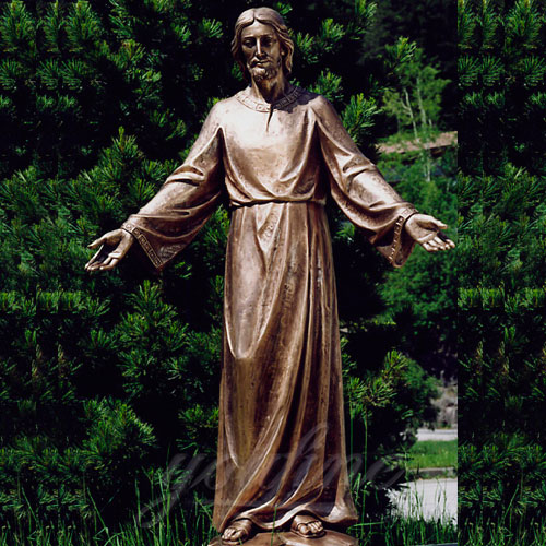 Large Religious Statues of Bronze Christian Jesus Opening the Arm near to me