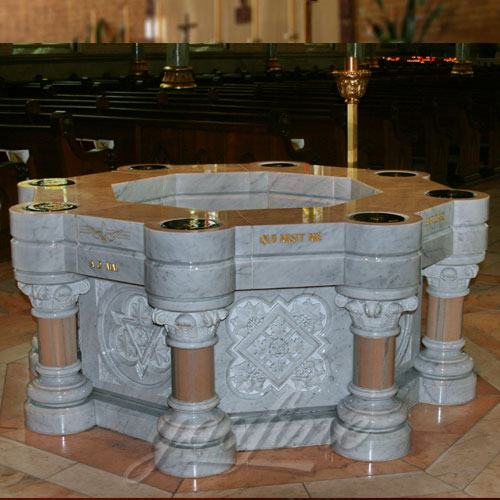Price of Religious Statues of Luxury Marble Water Font  for Church Indoor