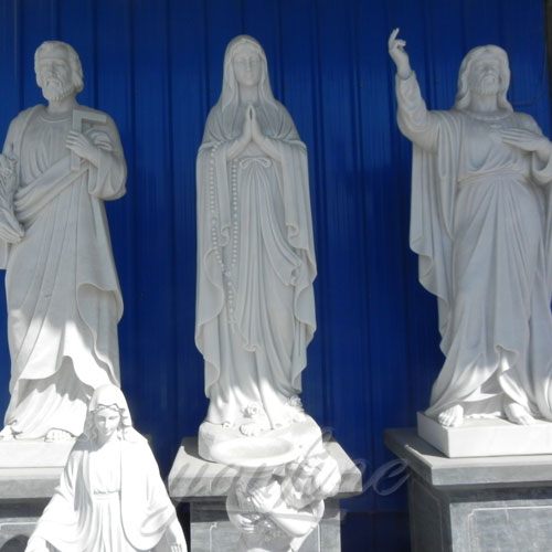 Natural Stone White Marble Religious Statues of Mary for Sale