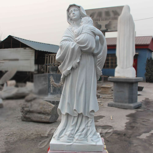 Outdoor White Marble Virgin Mary Statue with Jesus Christ Carving Sculpture for Sale
