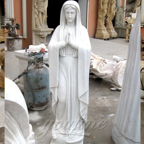 Natural Stone White Marble Virgin Mary Statue with Jesus Christ Carving Sculpture for church