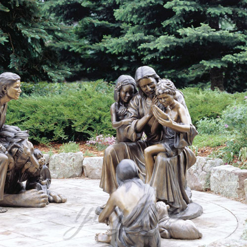 Outdoor Popular Religious Garden Design Black Jesus Statues 150cm with Child Design