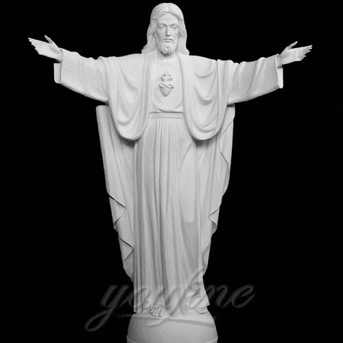 Open Arm White Marble Garden Sacred Heart of Jesus Religious Statue on Discount