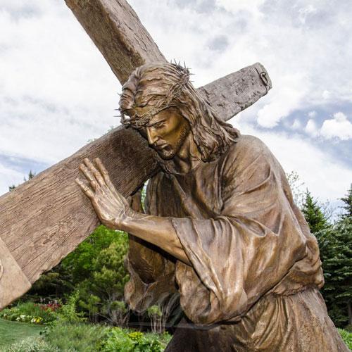 Religious Antique Bronze Famous Jesus Christ Garden Statue with Cross Design