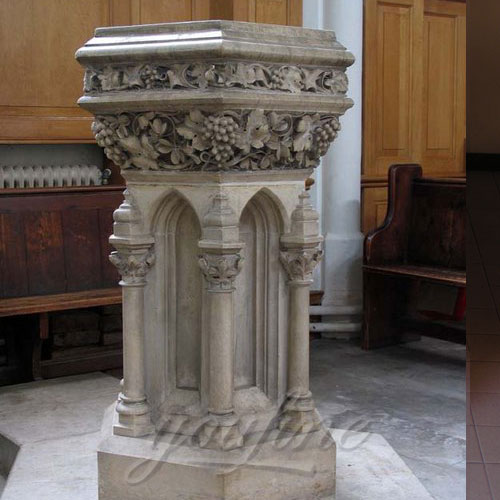 Antique Religious Statues of Marble Water Font Church Furniture on Discount