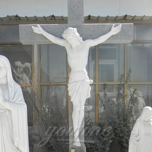 Religious garden statues of marble catholic cross church crucifix on discount