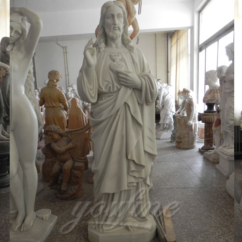 Carved Garden Marble Decorative Sacred Heart of Jesus Statues for sale