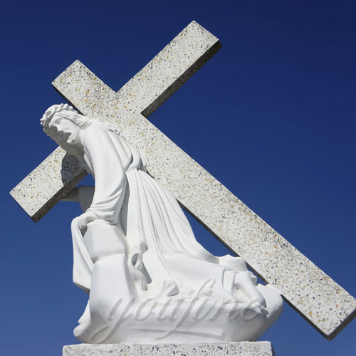 White Marble Catholic Jesus Statue with Cross on Back on Stock