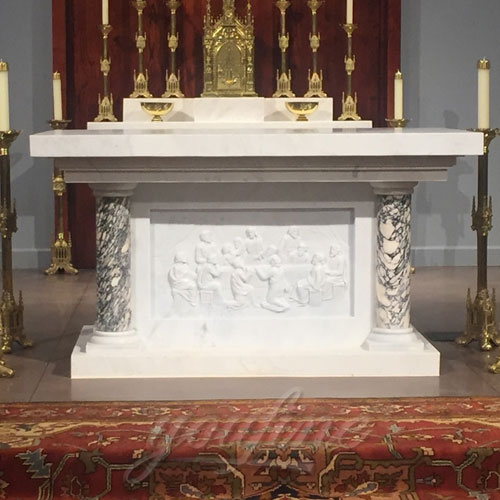 Wholesale Luxury Altar Table with marble carving last supper for Church