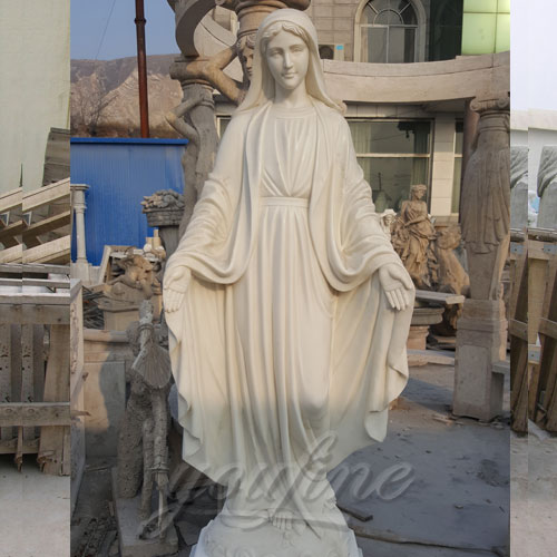 Outdoor White Marble Virgin Mary of Our Lady of Grace Statue 170cm supplier