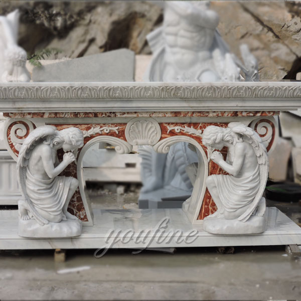 Religious statues of Church marble angel altar table made for Carlos from Costa Rica