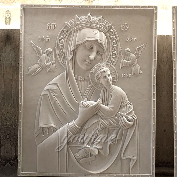 Large marble relief sculpture the Virgin of Perpetual relief made for Carlos