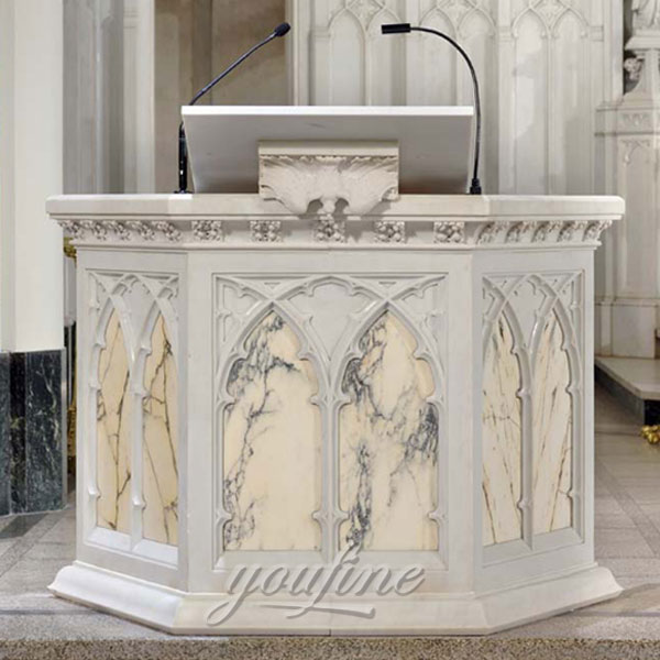 Marble carving white marble Church pulpit furniture for sale