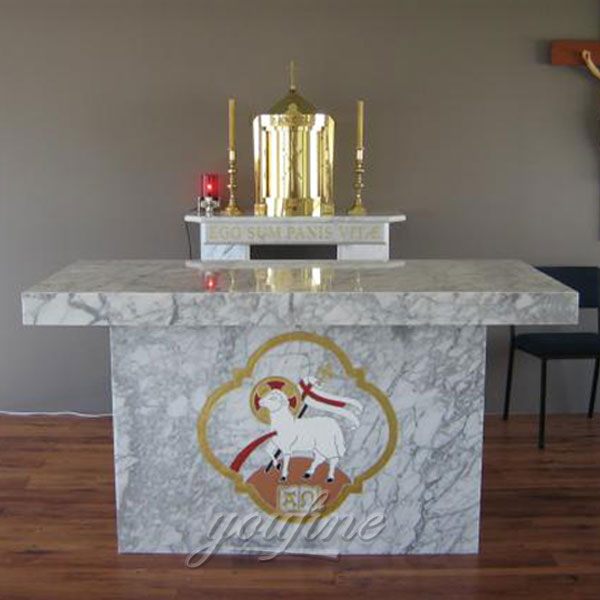 Catholic church decor marble ambo design with lamb in stock