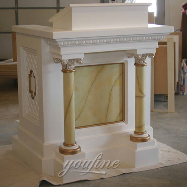 Buy Church decor marble pulpit furniture with columns decor