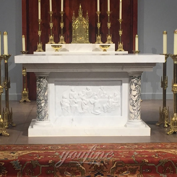 Church furniture of marble altar with last supper marble carving design on discount