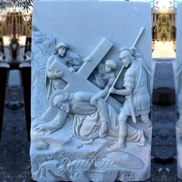 Church marble relief sculptures of the stations of the cross