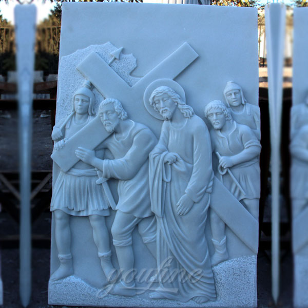 Church religious marble relief sculptures of the way of the cross