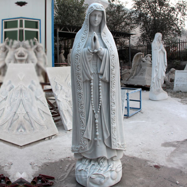 Church religion sculptures of our lady of fatima statues with rosary beads for sale