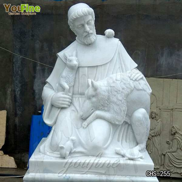 High-quality Religion White Marble Saint Statues of St. Francis Design Supplier CHS-255