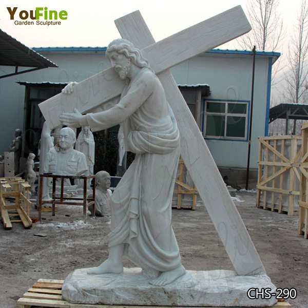 Large Size White Marble Sculpture of Jesus Carrying The Cross Supplier CHS-290
