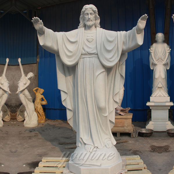 Outdoor sacred heart famous jesus statues made of white marble wholesale