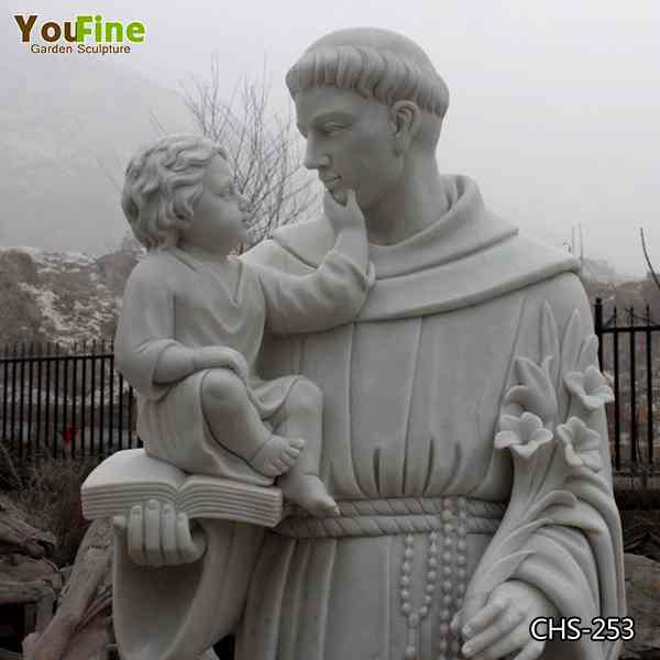 Life Size Catholic Natural Marble Saint Anthony Stone Statue Manufacturer CHS-253