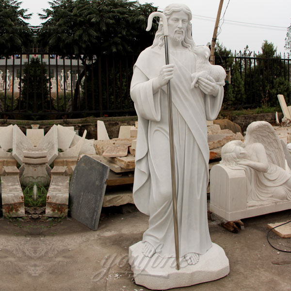 Life size marble shepherd religious garden statues of jesus 5.9 foot supplier