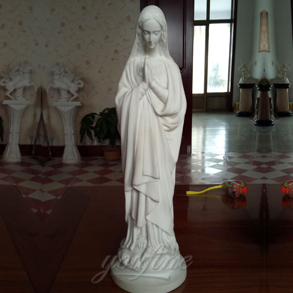 Life size white marble mother mary statues for interior decor