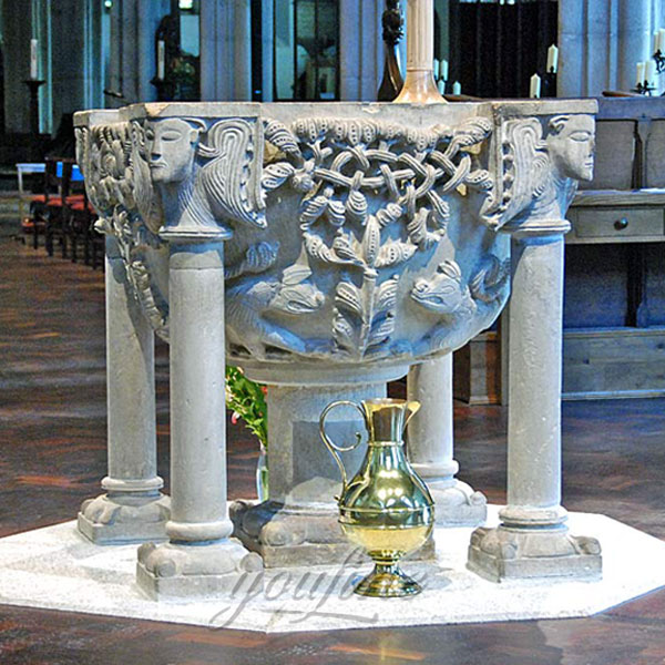 Luxury church decor of marble holy water font with beautiful carving decor design