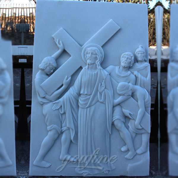 Marble carving relief sculptures the stations of the cross for church decor