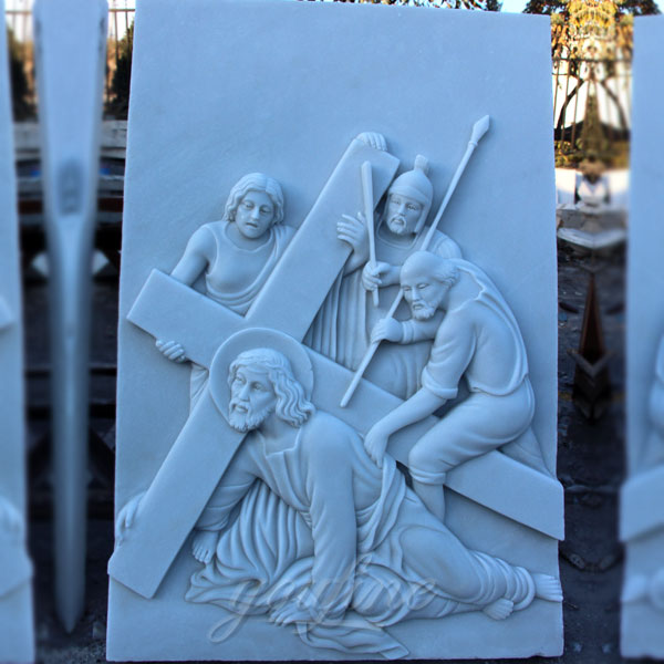 Marble carving relief sculptures the stations of the cross for sale