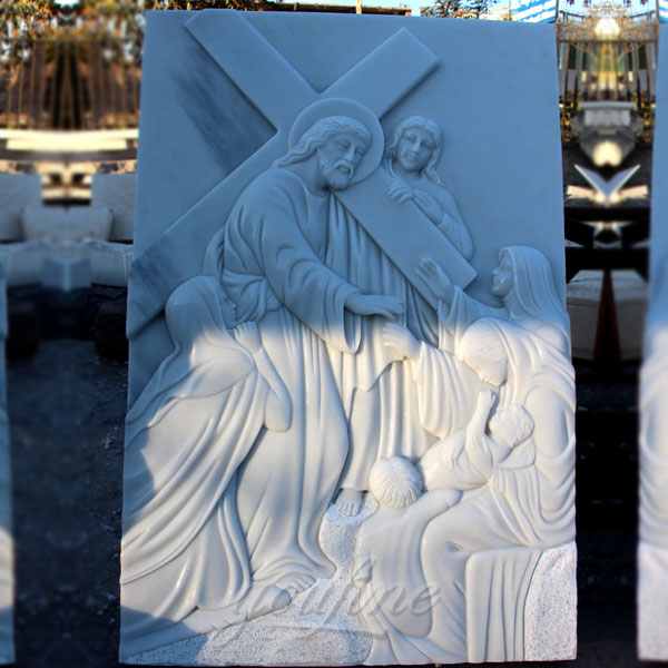 Marble relief sculptures of the stations of the cross for church decor