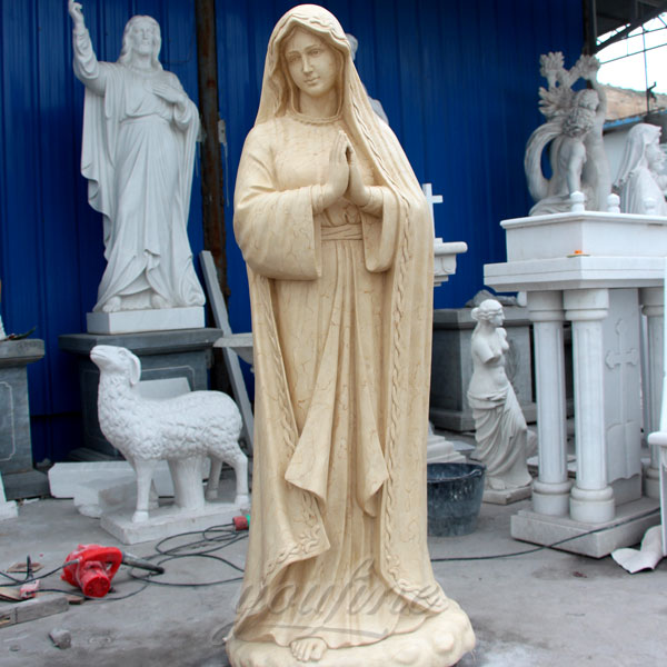 Outdoor garden beige marble lady of fatima statue sale