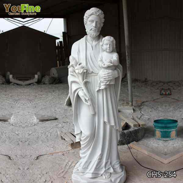 Religious White Marble St. Joseph Statue with Baby Jesus from Factory Supply CHS-254