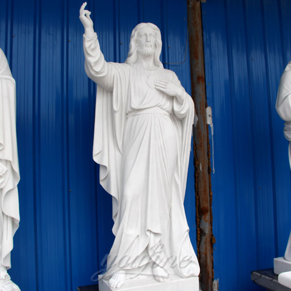 Religious giant white marble sacred heart jesus statues for church