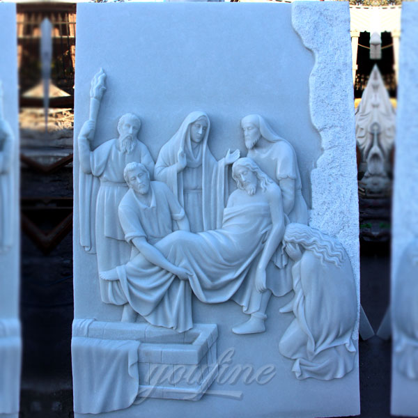 Religious marble relief sculptures of the stations of the cross for church decor