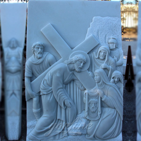 Religious marble relief sculptures of the way of the cross for church decor