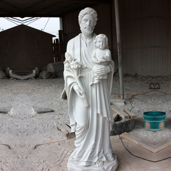 Religious garden statues of St. Joseph with baby jesus on discount