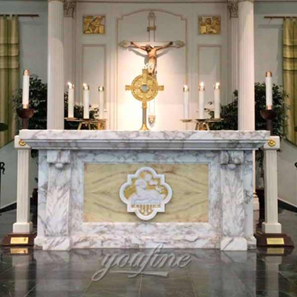 Religious statues of Marble altar with lamb decor for church interior decor