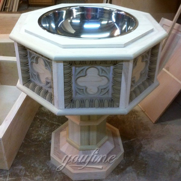Religious statues of antique marble holy water font with stainless steel bowl design