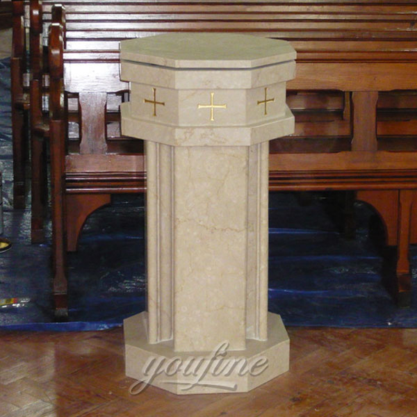 Religious statues of beige marble altar for church interior use