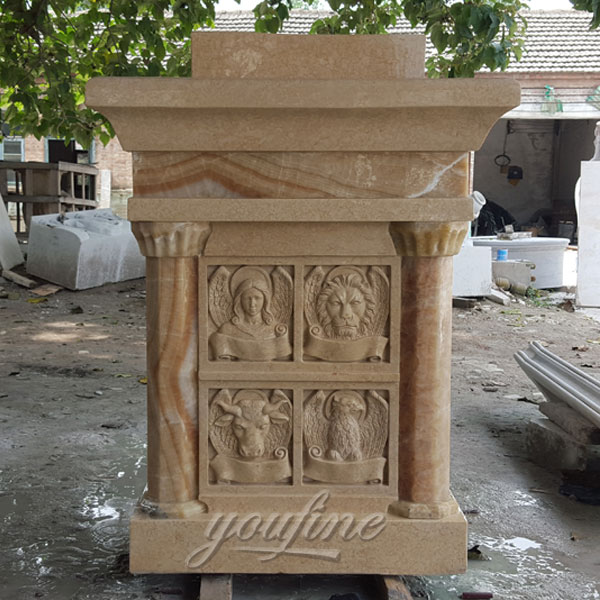 Religious statues of antique beige marble church pulpit furniture on discount