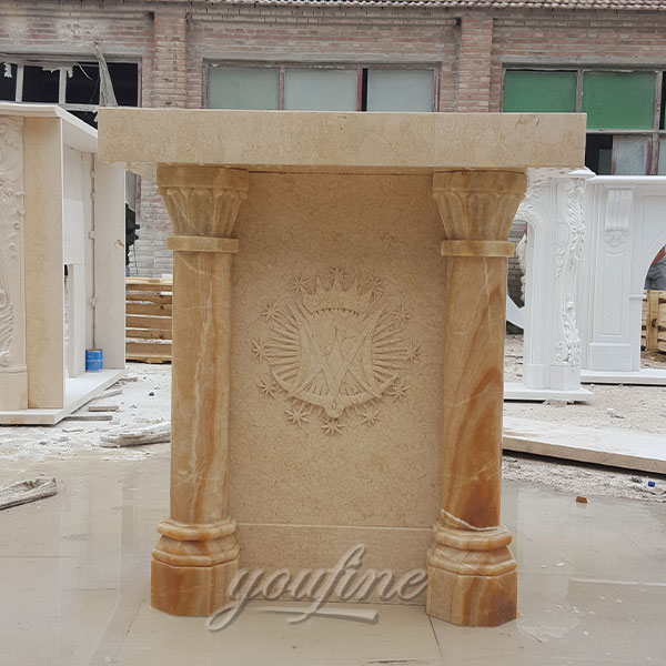 Religious statues of beige marble stone church pulpit decoration in stock