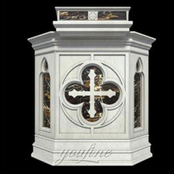 Religious antique marble carving church pulpit designs with cross for sale